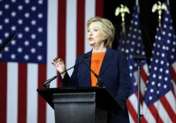 "Democratic presidential candidate Hillary Clinton, speaking on national security, said Thursday it would be a ""historic mistake"" to elect Donald Trump, whom she called unfit to be commander-in-chief."