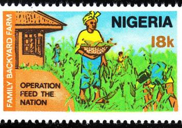 "This 1976 stamp from Nigeria promoted ""Operation Feed the Nation."""