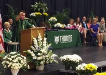 Eighth-grader Jack Aiello speaking at his graduation from Thomas Middle School outside Chicago.
