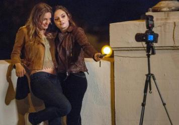 Selfie-Indulgent: Leila George and Emily Meade in Lifetime's <em>Mother May I Sleep With Danger</em>