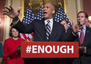 Sen. Cory Booker, D-N.J., joins Senate Democrats in calling for stricter gun control legislation in the wake of the mass shooting in Orlando last week.