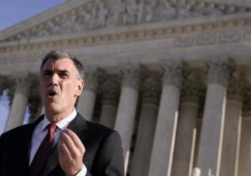 Donald Verrilli speaks outside the Supreme Court in Washington after arguments about the death penalty on Jan. 7, 2008. He became solicitor general in 2011.