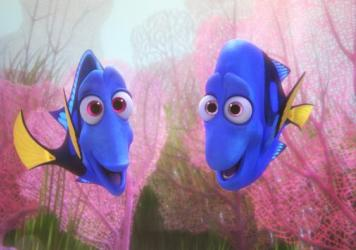 Jenny (Diane Keaton) and Charlie (Eugene Levy) in <em>Finding Dory</em>.