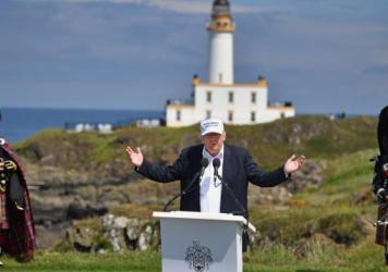 Donald Trump speaks from the 9th tee at his new Trump Turnberry Resort Friday in Ayr, Scotland. Trump endorsed the U.K. decision to leave the European Union even though Scotland was against it.