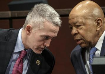 House Benghazi Committee Chairman Rep. Trey Gowdy, R-S.C. (left), confers with the committee's ranking member Rep. Elijah Cummings, D-Md., during a hearing on Capitol Hill.