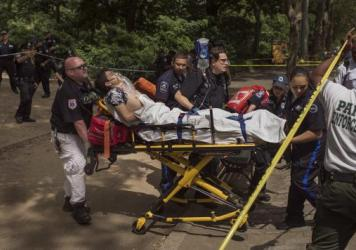 Connor Golden is wheeled to an ambulance after he was severely injured in Central Park by stepping on explosive material on Sunday.