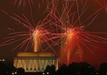 Fireworks explode over the National Mall during the 2015 July 4 fireworks show in Washington, D.C. For its 2016 Independence Day show, PBS used stock footage from previous shows, due to bad weather in the capital.