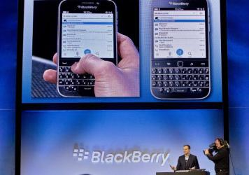 BlackBerry's Director of Marketing and Enterprise Jeff Gadway demonstrates the BlackBerry Classic during a news conference on Dec. 17, 2014.