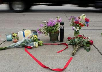 A memorial is left on July 7 for Philando Castile, following his death by a police officer in Falcon Heights, Minn.