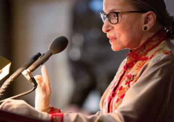 "Supreme Court Justice Ruth Bader Ginsburg says she regrets calling Donald Trump a ""faker"" and making other disparaging remarks about the candidate."