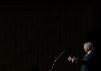 Republican presidential candidate Donald Trump speaks at the Grand Park Events Center on July 12 in Westfield, Indiana.