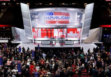 The stage at the Republican National Convention on Monday at the Quicken Loans Arena in Cleveland, Ohio.