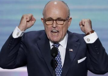 Former New York Mayor Rudy Giuliani speaks during the opening day of the Republican National Convention in Cleveland on Monday.