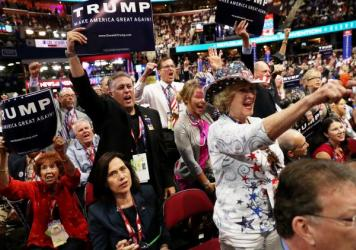 """Delegates shout """"guilty"""" as New Jersey Governor Chris Christie speaks on the second day of the Republican National Convention on Tuesday at the Quicken Loans Arena in Cleveland"""