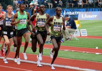 U.S. Army soldiers who qualified for the U.S. Olympic track team include, from left, Spc. Shadrack Kipchirchir in the 10,000 meters, Staff Sgt. John Nunn in the 50k race walk, and Spc. Paul Chelimo in the 5,000 meters. The trio, photographed in Fort Cars
