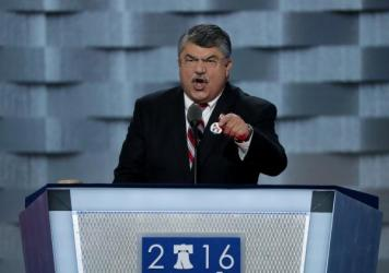 Richard Trumka, AFL-CIO president, delivers remarks on the first day of the Democratic National Convention.