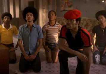 Skylan Brooks, Justice Smith, Tremaine Brown Jr., Shameik Moore, and Jaden Smith in <em>The Get Down.</em>