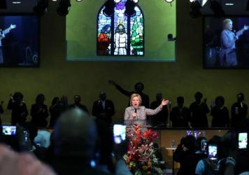 Hillary Clinton speaks during church services at Greater St. Paul Church in June in Oakland, Calif.