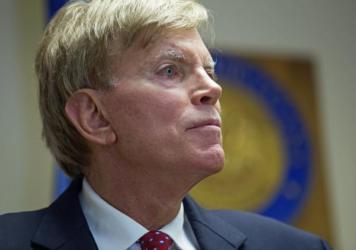"Former Ku Klux Klan leader David Duke talks to the media at the Louisiana secretary of state's office in Baton Rouge, La., on July 22, after registering to run for the U.S. Senate. ""The climate of this country has moved in my direction,"" Duke said as he announced his candidacy, one day after Donald Trump accepted the GOP nomination for president."