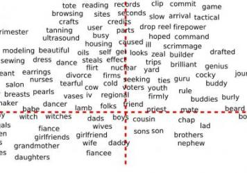 Words classified according to their gender, as the word embedding sees it. Words below the line are words that (generally) should be gendered, while words above the line are problematic if gendered.
