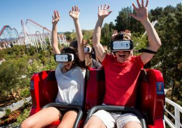 What riders see through their virtual reality goggles while riding on Six Flags Magic Mountain's new VR roller coaster.