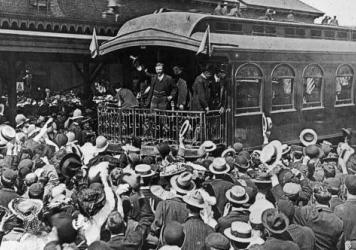 Republican William McKinley making an elaborate front-porch campaign speech at his home in Canton, Ohio, in 1896.