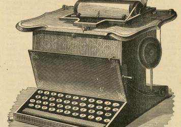 This 1878 engraving shows a Remington typewriter with the QWERTY keyboard.