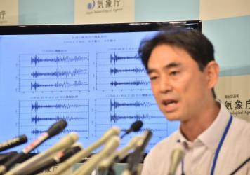 Japan meteorological agency officer Gen Aoki displays seismic readings apparently due to a nuclear weapons test in North Korea Friday morning. North Korea later confirmed it had conducted its fifth nuclear test.
