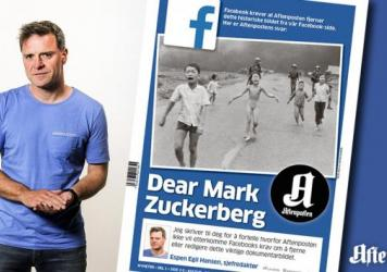 Espen Egil Hansen, the editor-in-chief of Norway's <em>Aftenposten </em>newspaper, addressed Facebook CEO Mark Zuckerberg in a front-page open letter on Friday.