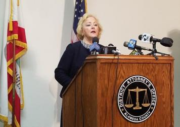 Alameda County (California) District Attorney Nancy O'Malley announces criminal charges against 7 current and former police officers involved in a wide-ranging sexual misconduct scandal. (Alex Emslie, KQED)
