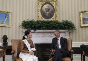 President Obama meets with Myanmar's de facto leader, Aung San Suu Kyi, in the Oval Office of the White House in Washington, D.C., on Wednesday.