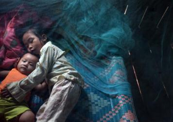 Two siblings in Cambodia rest under a bed net, which protects them from being bitten by malaria-carrying mosquitoes.