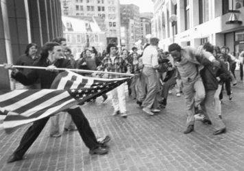 """The Soiling of Old Glory,"" was taken on April 5th, 1976, during the Boston busing desegregation protests."