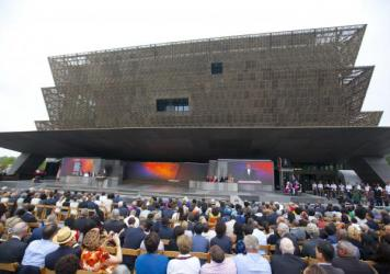 President Barack Obama speaks during the dedication ceremony for the Smithsonian Museum of African American History and Culture on the National Mall in Washington.