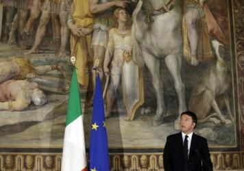 """Italian Prime Minister Matteo Renzi speaks at a meeting entitled """"Italy, Europe, An Answer to Terror,"""" held at the Capitolini Museum in Rome last November. Renzi's government is offering all Italian 18-year-olds 500 euros to spend on cultural events. The"""