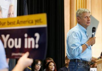 Libertarian presidential candidate Gary Johnson talks to a crowd of supporters at an August rally in Salt Lake City.