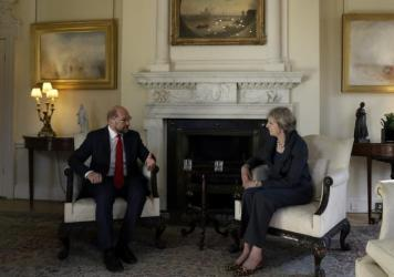 British Prime Minister Theresa May, right, hosts the President of the European Parliament Martin Schulz in London on Sept. 22.
