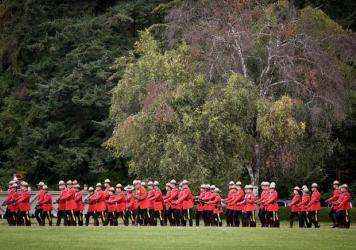 Royal Canadian Mounted Police officers perform a march at an event last month in Vancouver, British Columbia.