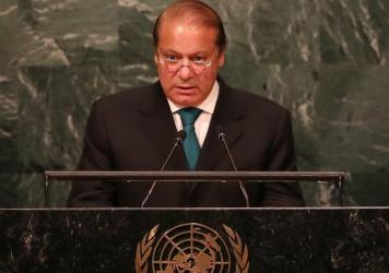 "The government of Prime Minister Nawaz Sharif, shown here addressing the U.N. General Assembly last month, says a newspaper story that civilian officials warned the military of global isolation due to support of militant groups was ""fabricated."""