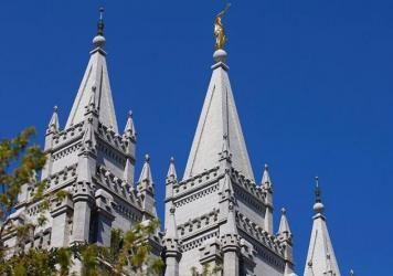 The spires of the historic Salt Lake Temple in downtown Salt Lake City, Utah.