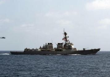 The USS Mason conducts maneuvers as part of a exercise in the Gulf of Oman last month.