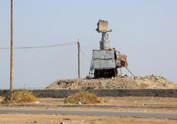 A destroyed vehicle bearing a radar antenna is pictured in the Yemeni port city of Hodeidah on Oct. 13. The U.S. military directly targeted Yemen's Houthi rebels for the first time, hitting radar sites controlled by the insurgents after U.S. warships came under missile attacks twice in four days.