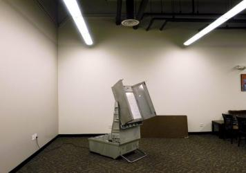 The Danaher ELECTronic 1242 voting machine, on display in 2004 at the Franklin County Board of Elections office in Columbus, Ohio. The machines have been in use in the state since 1992.