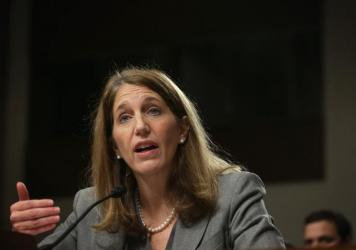 "Secretary of Health and Human Services Sylvia Burwell at a Senate hearing in 2014. ""We expect this to be a transition period for the marketplace,"" she told reporters Wednesday. ""Issuers are adjusting their prices, bringing them in line with actual data on costs."""