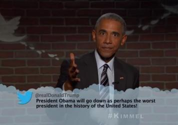 President Obama appears on ABC's <em>Jimmy Kimmel Live</em> on Monday.