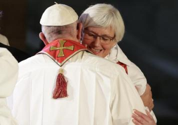 Pope Francis (left) hugs Lutheran Archbishop Antje Jackelen, primate of the Church of Sweden on Monday.