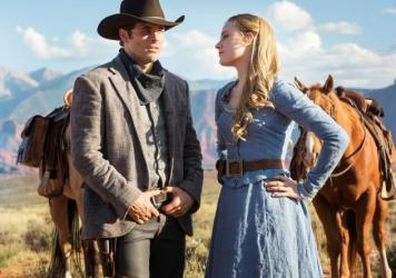 James Marsden and Evan Rachel Wood in the HBO series <em>Westworld.</em>
