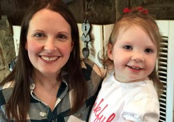 "Intensive home-visits by physical, occupational and speech therapists have been ""a lifesaver,"" for little Haylee Crouse, her mom Amanda (left) told Shots. Haylee, who is now 2, developed seizures and physical and intellectual disabilities after contracting meningitis when she was 8 days old."