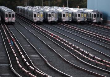 Market-Frankford line trains remain idle at a Southeastern Pennsylvania Transportation Authority station in Upper Darby, Pa., just outside Philadelphia, on Nov. 1. Philadelphia's transit strike ended early Monday, as SEPTA said it has reached a tentative, five-year deal with the union.