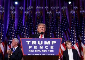 Republican president-elect Donald Trump delivers his acceptance speech during his election night event in New York City.